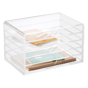 5 Drawers Clear PMMA Notebook Storage Box