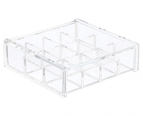 Aceylic Cube Box With Lid - 12 Sections-1