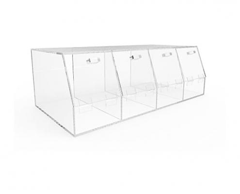 "4 Compartments Large Plexiglass Organizer Bin - 24"" × 12"" × 8""-3"