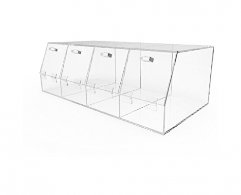 "4 Compartments Large Plexiglass Organizer Bin - 24"" × 12"" × 8""-1"