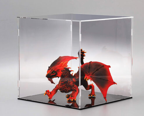 Assembled Clear Acrylic Display Case For Collectibles With Black Base-4