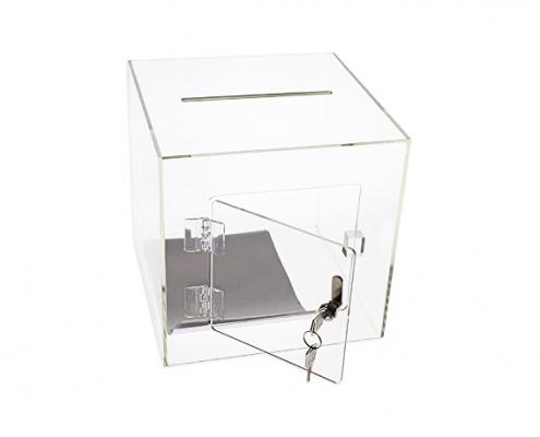 Acrylic Cube Donation Box With Door & Lock-3