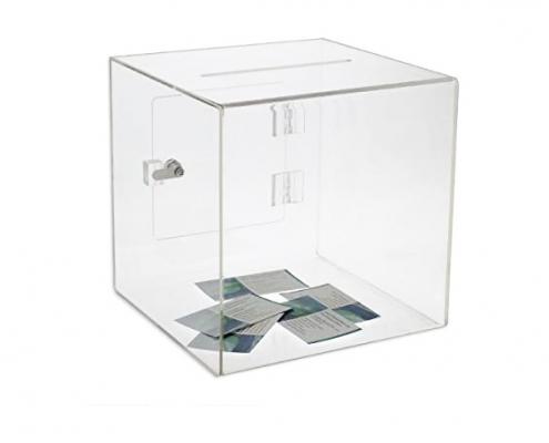 Acrylic Cube Donation Box With Door & Lock-1