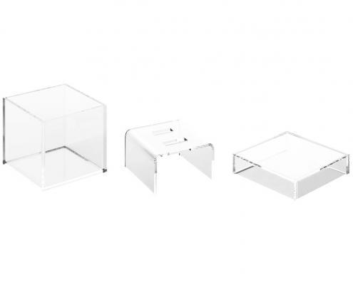 "Acrylic Wedding Ring Box With 2 Slots - 3"" × 3"" × 3""-4"
