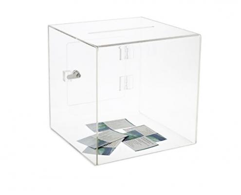 Acrylic Cube Donation Box With Door & Lock-4