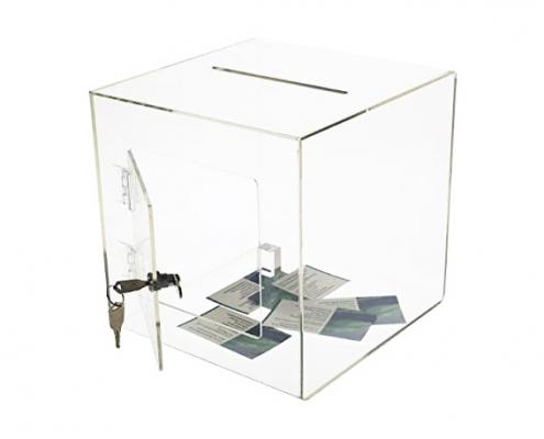 Acrylic Cube Donation Box With Door & Lock-2