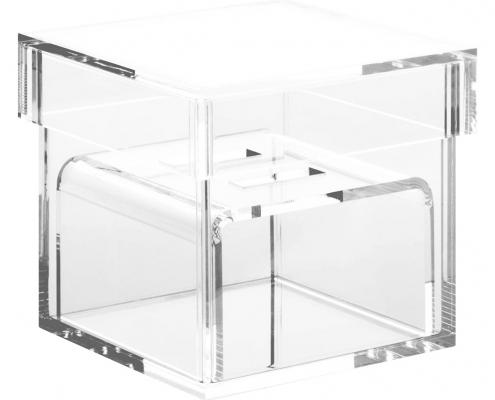 "Acrylic Wedding Ring Box With 2 Slots - 3"" × 3"" × 3""-2"