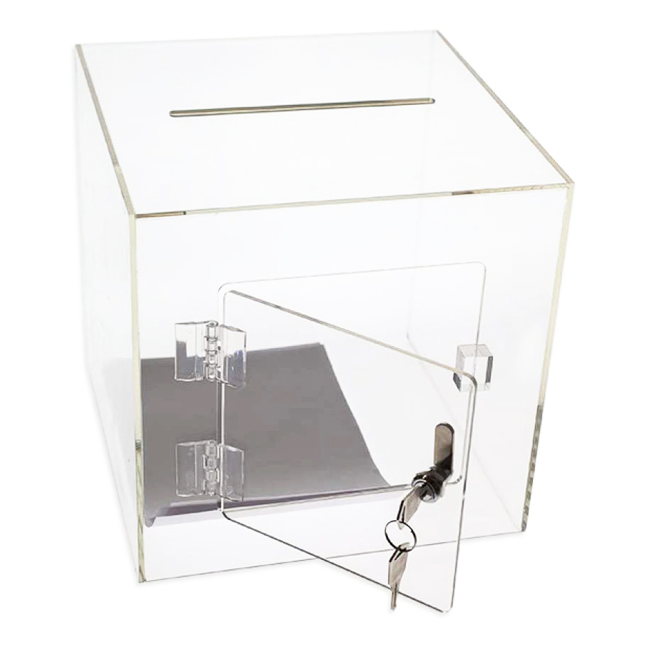 Acrylic Cube Donation Box With Door & Lock