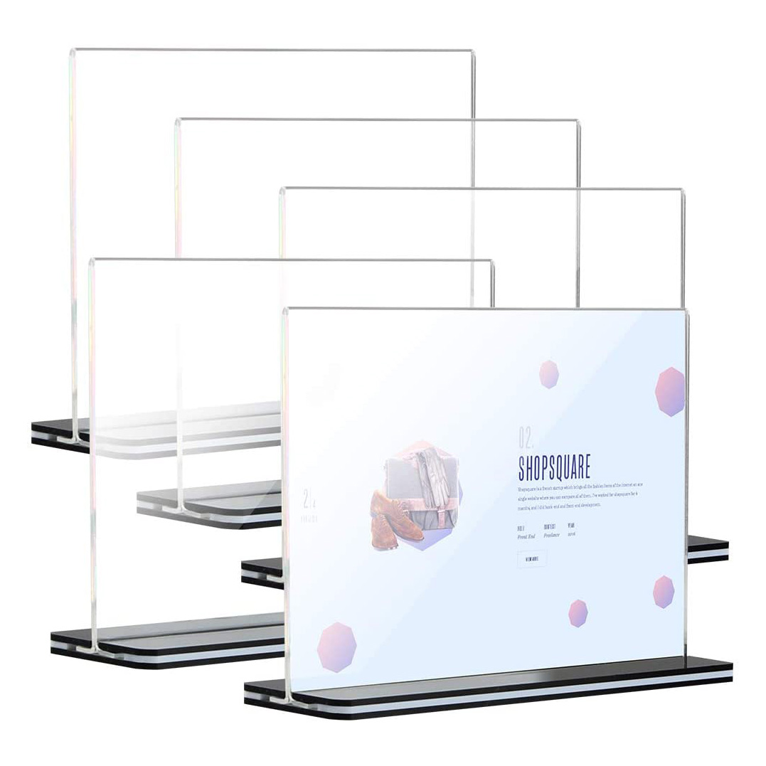 Stores Acrylic Sign Holder Menu Display Stand With Black Base
