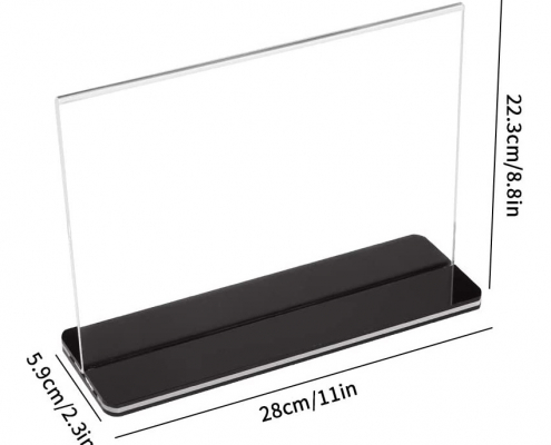 Stores Acrylic Sign Holder Menu Display Stand With Black Base-size