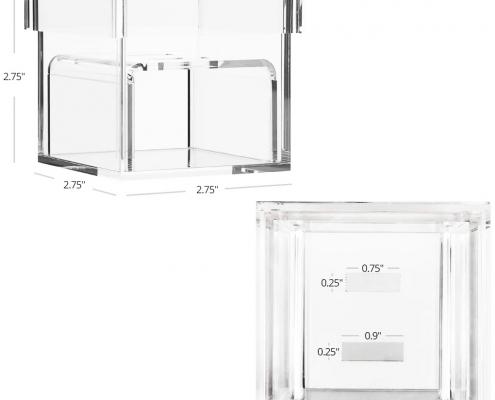 "Acrylic Wedding Ring Box With 2 Slots - 3"" × 3"" × 3""-size"