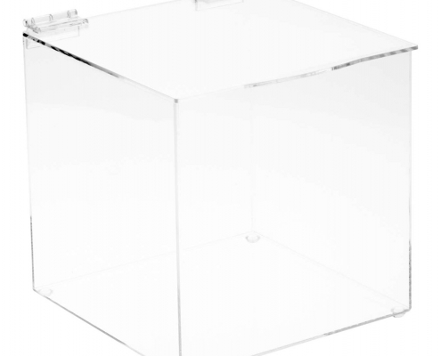 "Clear Acrylic Display Box with Hinged Lid - 8"" x 8"" x 8""-sale"