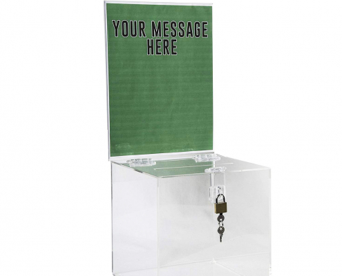 Acrylic Donation Box with Lock & Sign Holder