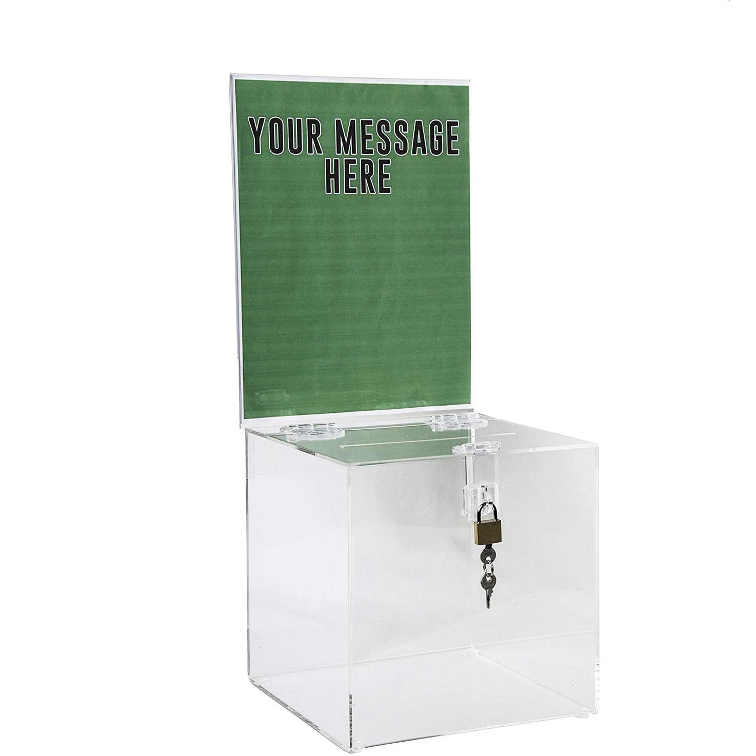 Acrylic Donation Box with Lock & Sign Holder