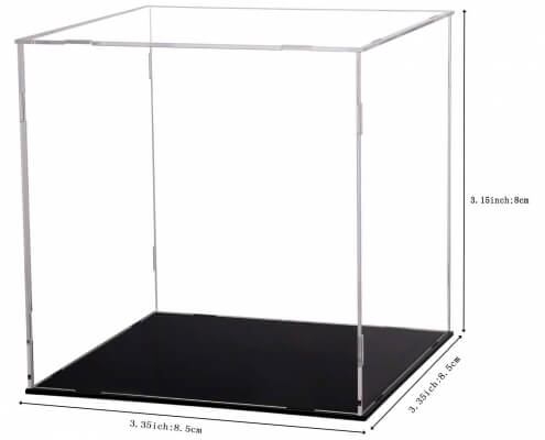 Assembled Clear Acrylic Display Case For Collectibles With Black Base-2