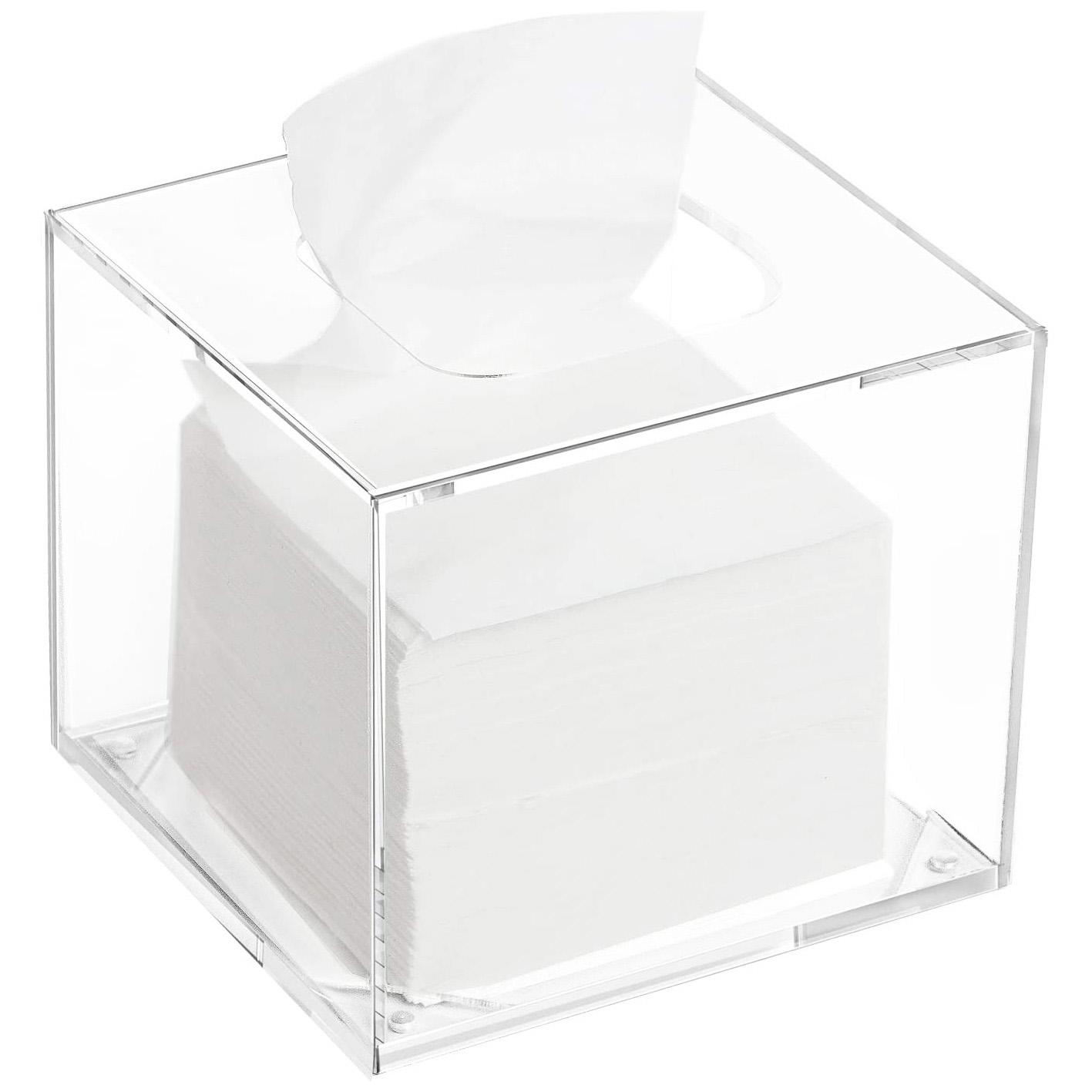 Clear Acrylic Square Napkin Organizer for Bathroom & Living Room