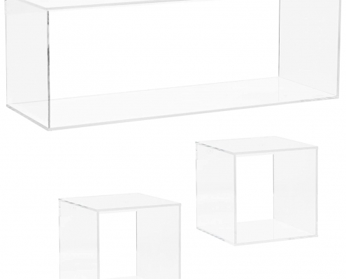 4 Sided Crystal Clear Acrylic Floating Shelves