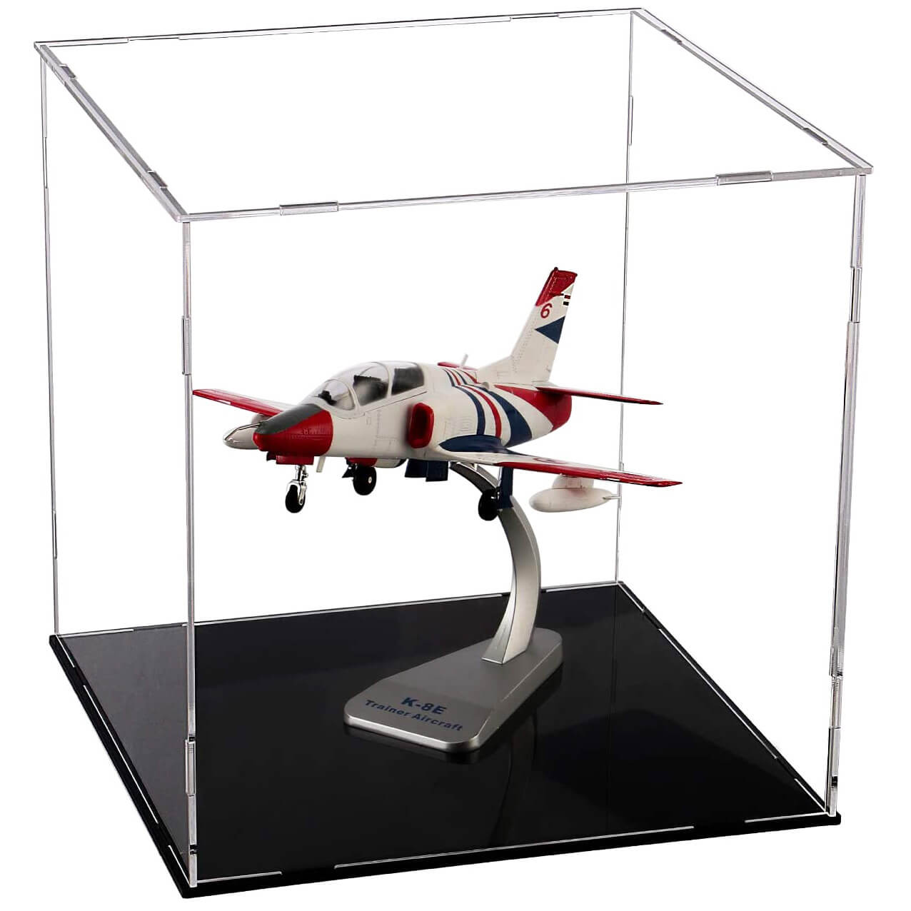 Assembled Clear Acrylic Display Case For Collectibles With Black Base