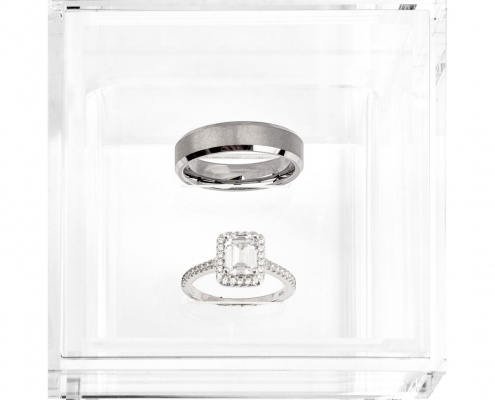 "Acrylic Wedding Ring Box With 2 Slots - 3"" × 3"" × 3""-1"
