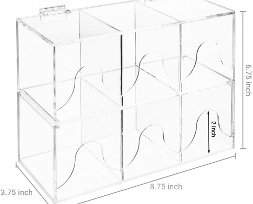 6-Slots Clear Acrylic Stackable Tea Bag Organizer Rack-4