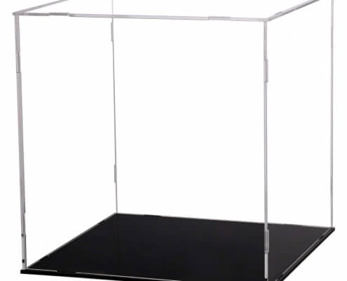 Assembled Clear Acrylic Display Case For Collectibles With Black Base-1