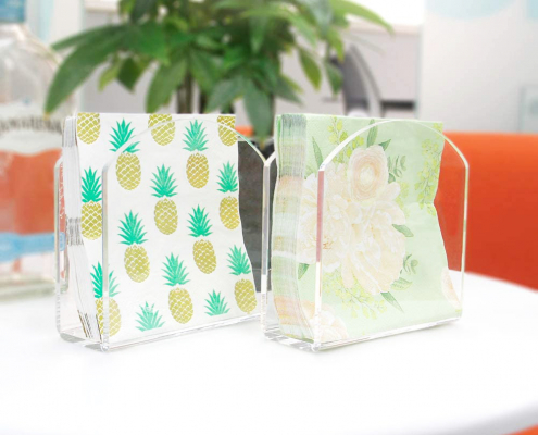 "Acrylic Paper Napkin Holder For Restaurant - 4.9"" × 4.9"" × 2""-2"
