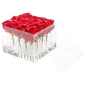 Crystal Lucite Flower Cube Box - 9 Holes