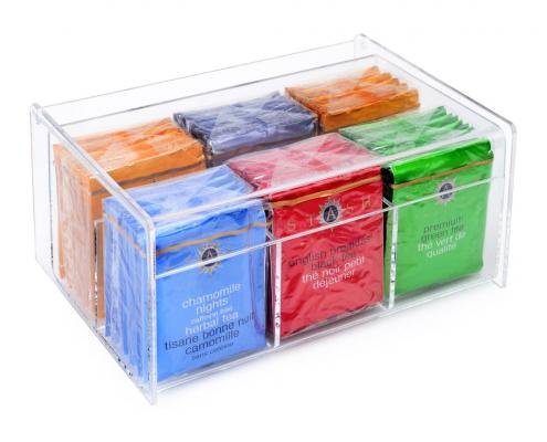 Clear Transparent Lucite Tea Bag Storage Box - 6 Compartments-1