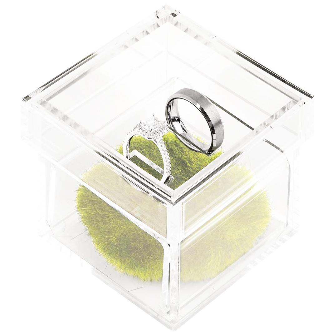 "Acrylic Wedding Ring Box With 2 Slots - 3"" × 3"" × 3"""