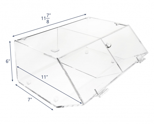 2 Compartments Acrylic Bread Display Case With Hinge-size