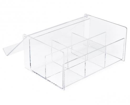 Clear Transparent Lucite Tea Bag Storage Box - 6 Compartments-2