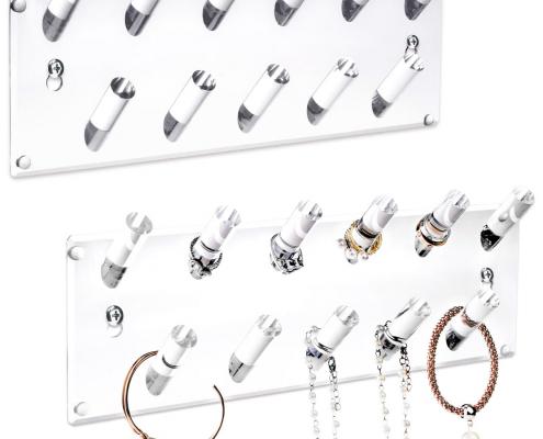 Acrylic Wall Mounted Bracelets & Rings Display Rack