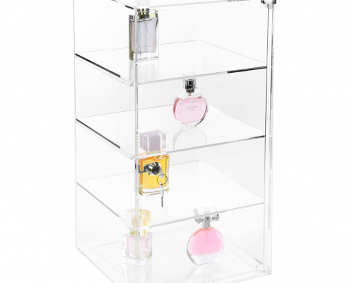 "Large Acrylic Display Rack With Lock - 10"" × 10"" × 18.5""-1"
