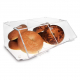 2 Compartments Acrylic Bread Display Case With Hinge