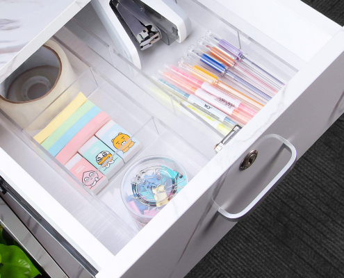 Clear Acrylic Desk Drawer Holder With Removable Plates-4