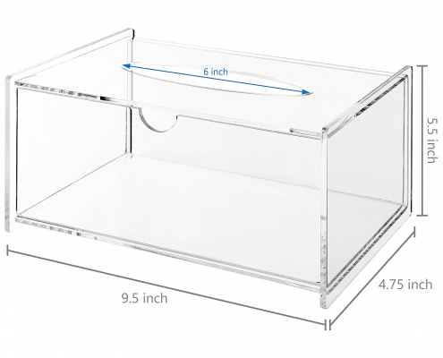 Modern Clear Acrylic Bathroom Facial Tissue Dispenser-size