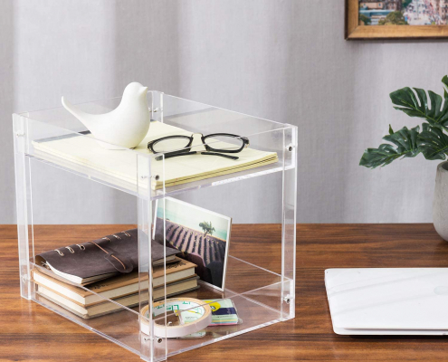 2-Tier Clear Acrylic Desktop Document Holder Stand-5