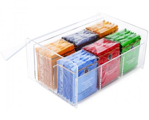 Clear Transparent Lucite Tea Bag Storage Box - 6 Compartments