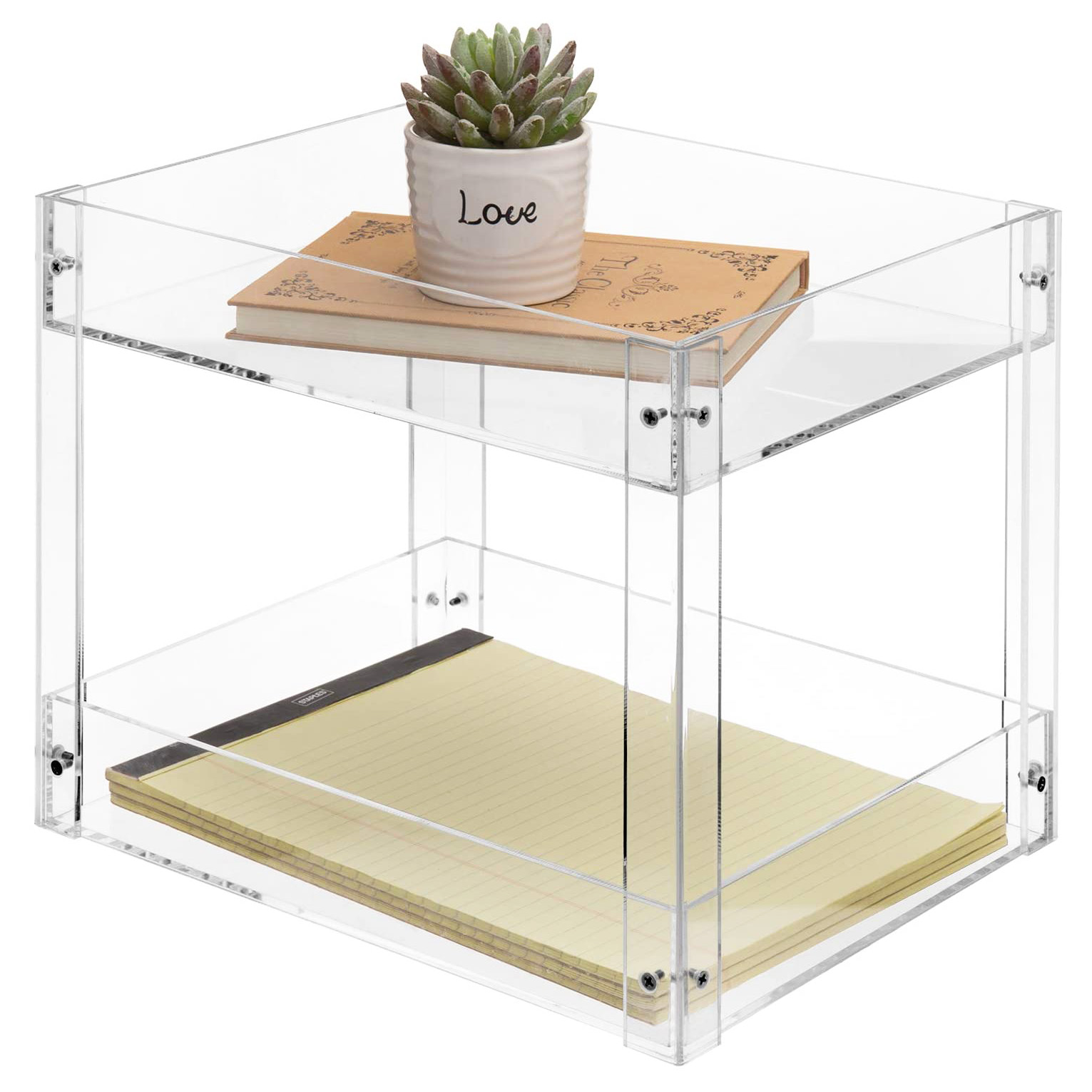 2-Tier Clear Acrylic Desktop Document Holder Stand