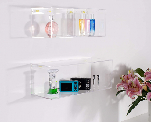 4 Sided Crystal Clear Acrylic Floating Shelves-2