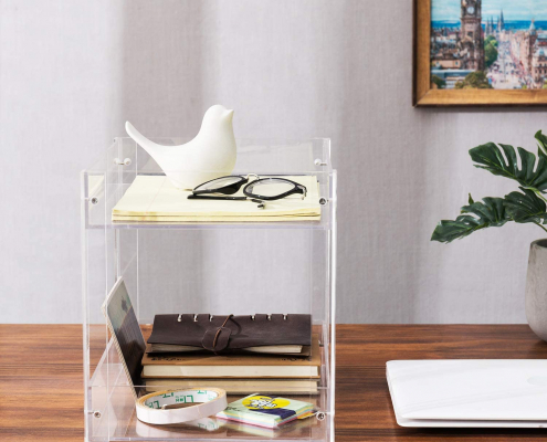 2-Tier Clear Acrylic Desktop Document Holder Stand-3