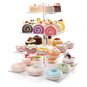 Square Acrylic Clear 4 Tier Cupcake Display Stand