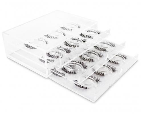 "Acrylic Lash Box 3 Tiers 6.73"" x 5"" x 2.5"" For 18 Pairs Eyelashes"