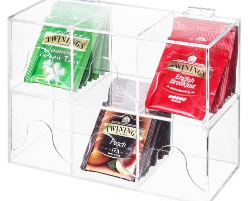 6-Slots Clear Acrylic Stackable Tea Bag Organizer Rack