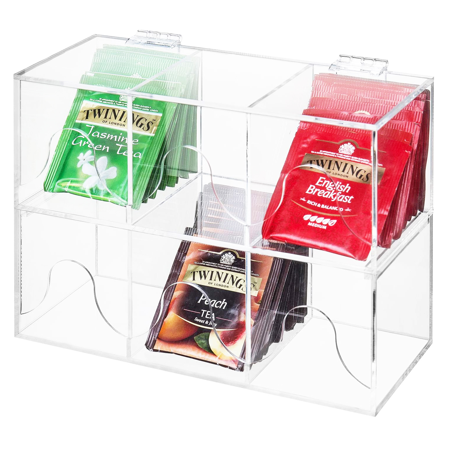6-Slots Clear Acrylic Stackable Tea Bag Organizer Rack
