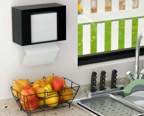 Acrylic Paper Towel Dispenser For Countertop - Black-2