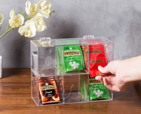 6-Slots Clear Acrylic Stackable Tea Bag Organizer Rack-6