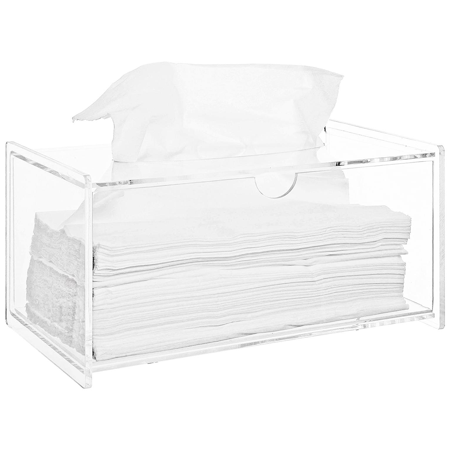 Modern Clear Acrylic Bathroom Facial Tissue Dispenser