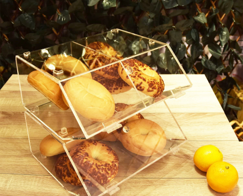 2 Compartments Acrylic Bread Display Case With Hinge-1