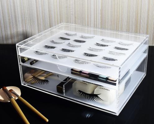 Clear Acrylic Eyelash Makeup Organizer Box-2